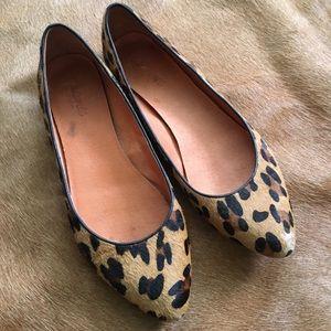 madewell calf hair leopard print ballet flats